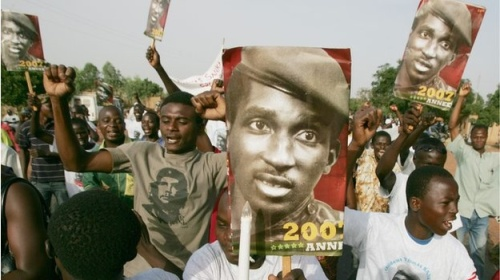 Burkinabe Protesters with Sankara Placards